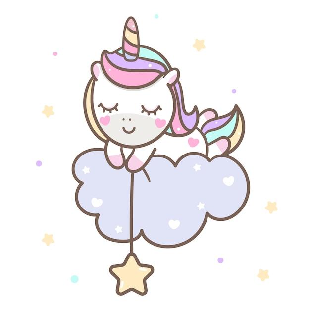 Kawaii unicorn vector durmiendo en la nube Vector Premium