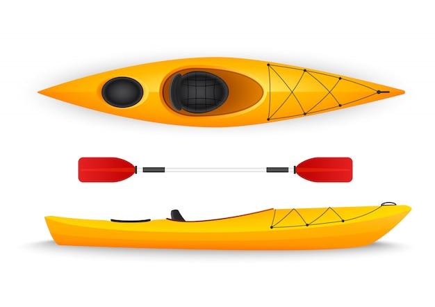 Kayak amarillo, con vistas superiores y laterales aisladas. Vector Premium