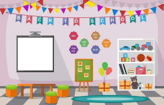 Kindergarten aula interior niños niños escuela juguetes muebles Vector Premium