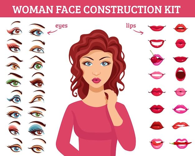 Kit de construcción de rostro de mujer vector gratuito