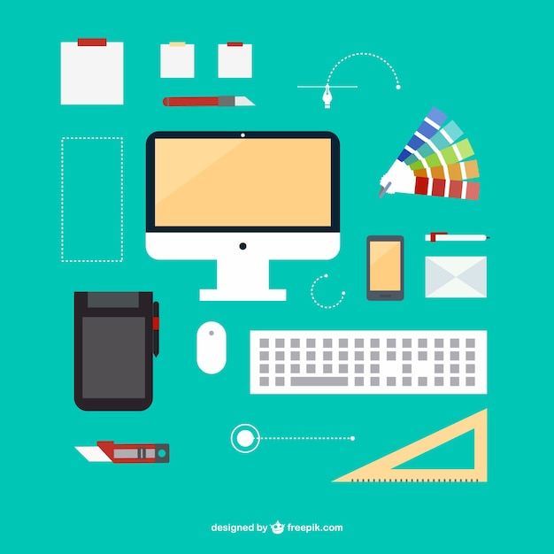 Kit de oficina de dise ador descargar vectores gratis for Disenador de cocinas online gratis