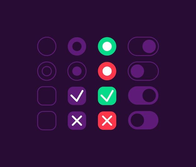 Kit de elementos de interfaz de usuario de conmutadores de opción. presiona el botón. icono de configuración, barra y plantilla de tablero. colección de widgets web para aplicaciones móviles con interfaz de tema oscuro Vector Premium