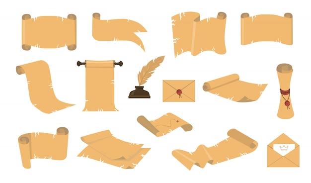 Kit de iconos de pergaminos antiguos de dibujos animados vector gratuito