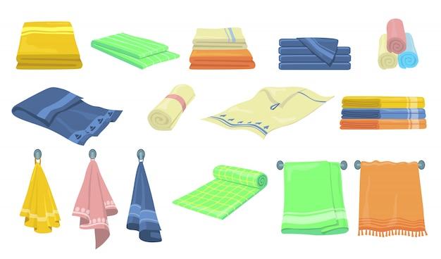 Kit de iconos de toallas de baño y cocina vector gratuito