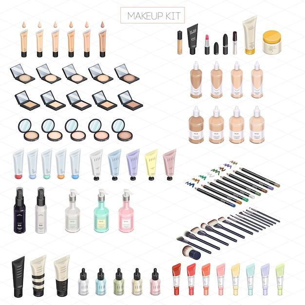 Kit de maquillaje isométrico Vector Premium