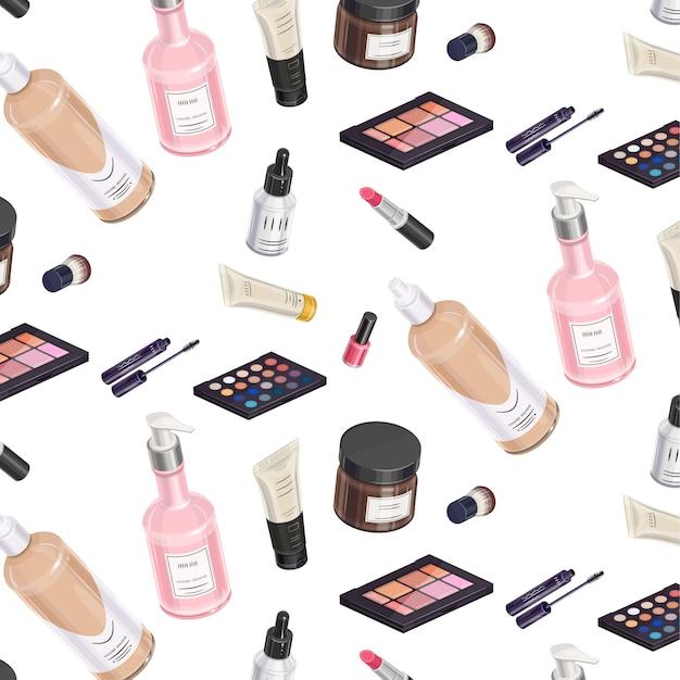 Kit de maquillaje patrón isométrico Vector Premium