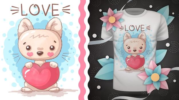 Kitty con idea de corazón para camiseta estampada Vector Premium