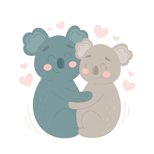 Koala valentines day animal pareja vector gratuito