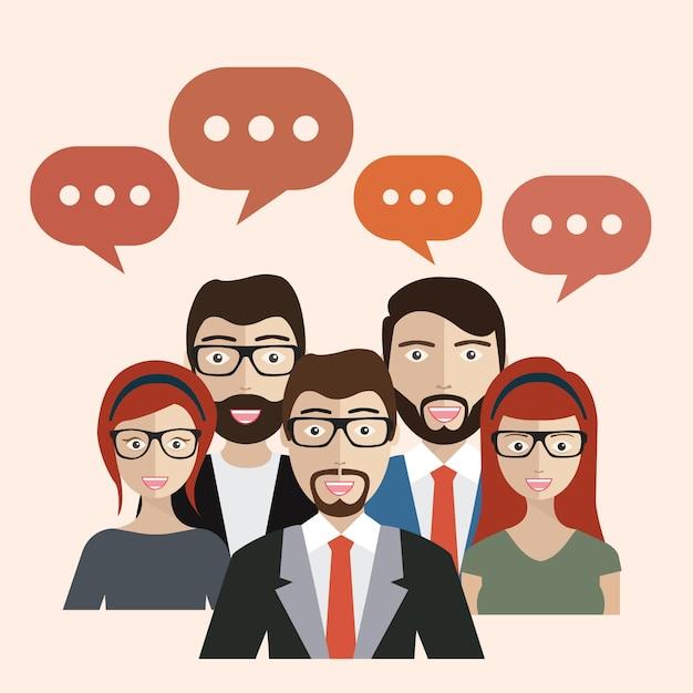 La gente de negocios con las burbujas del discurso Vector Gratis