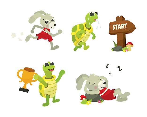 La tortuga y la liebre story book illustration | Descargar Vectores ...