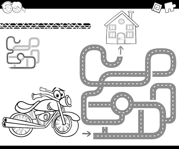 Laberinto Con Bicicleta Para Colorear Descargar Vectores Premium