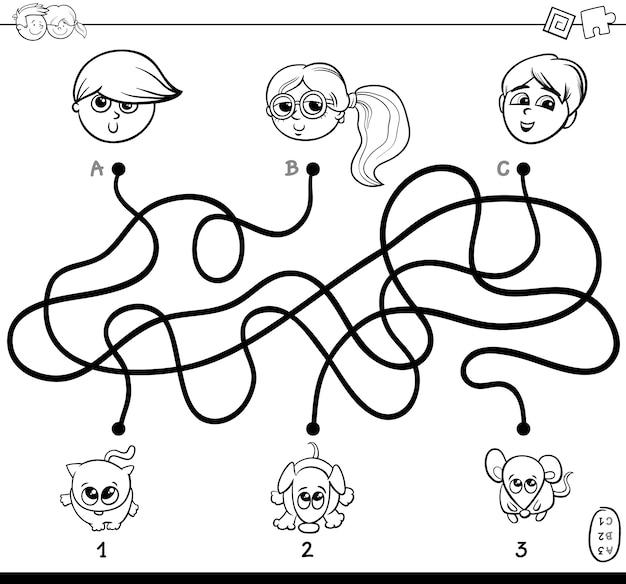 Laberinto de caminos con niños y mascotas para colorear | Descargar ...