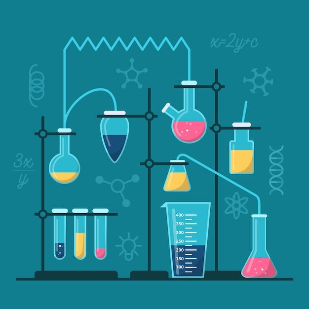 Laboratorio de ciencias con elementos esenciales. vector gratuito