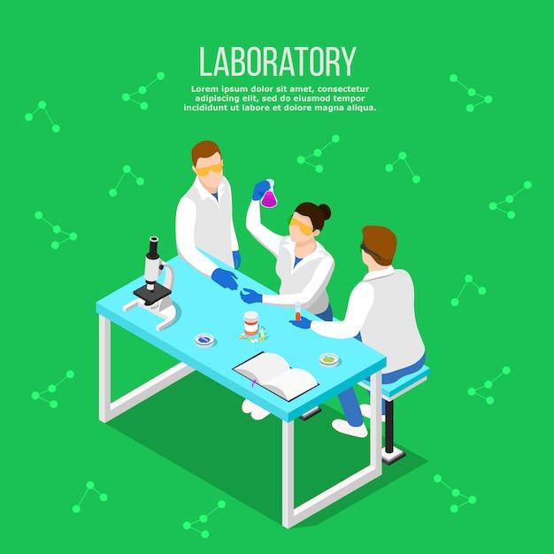 Laboratorio farmacéutico composición isométrica vector gratuito