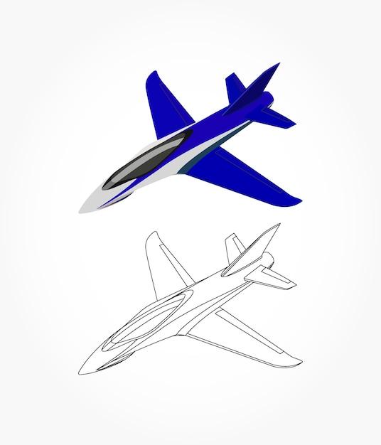 Lado detallado del avión jet blanco azul con opción de trazo negro ...