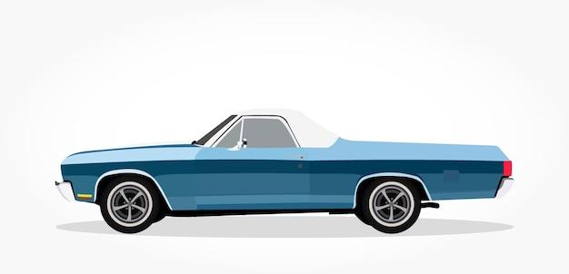Lado detallado de un coche descapotable plano azul dibujos animados ...