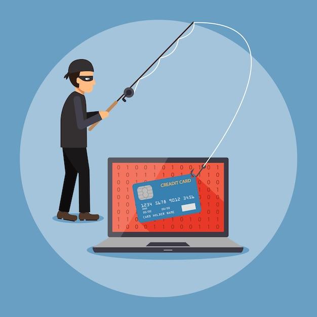 Ladrón cibernético Vector Premium