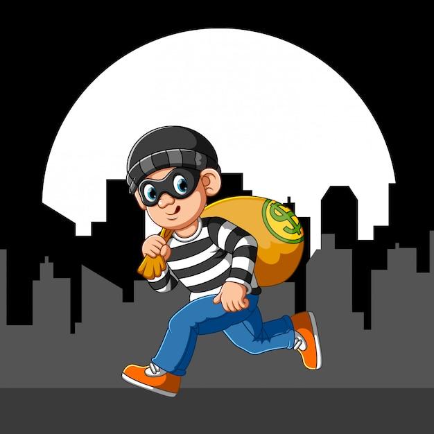 Ladrón corriendo con antifaz Vector Premium