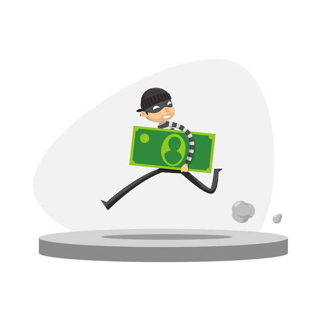 Un ladrón está corriendo con la celebración de papel moneda. ilustración vectorial aislado Vector Premium