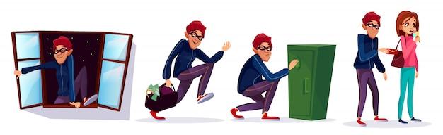 Ladrón de dibujos animados, conjunto de caracteres de ladrón. ladrón corriendo con dinero robado vector gratuito