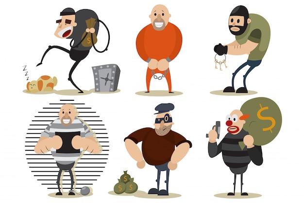 Ladrón, ladrón y gángster. ilustración criminal con hombres en una máscara en la escena del crimen. personajes de dibujos animados de vectores aislados Vector Premium