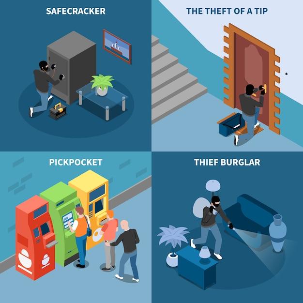 Ladrón ladrón pick bolsillo y robo de galletas seguro de concepto de diseño isométrico de punta aislado ilustración vectorial vector gratuito