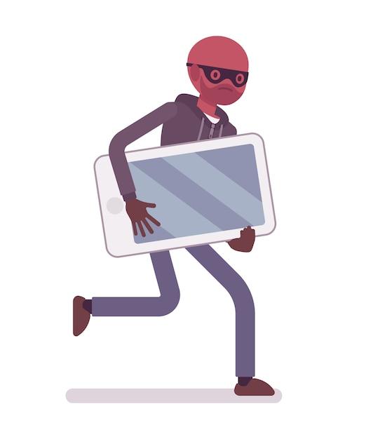 Ladrón con una máscara negra robó un teléfono inteligente y se está escapando Vector Premium