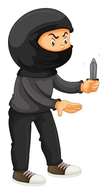 Ladrón en negro con un cuchillo vector gratuito