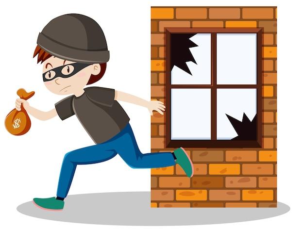 Ladrón o ladrón rompió el vidrio de la ventana y sosteniendo una pequeña caricatura de bolsa de dinero aislada vector gratuito