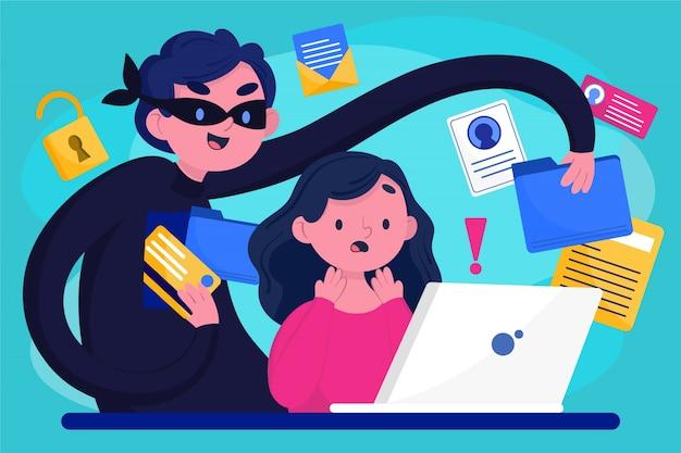 Ladrón robando datos de usuarios Vector Premium