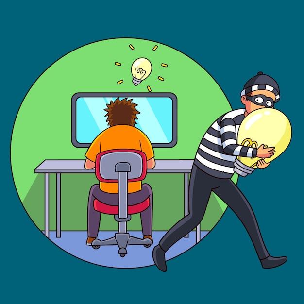 Ladrón robando ideas de alguien vector gratuito