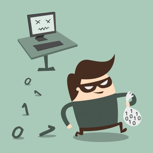 Ladrón robando información del ordenador vector gratuito