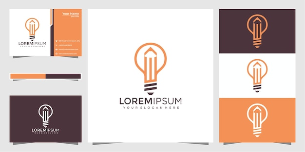 Lámpara de bombilla creativa con logotipo de lápiz y diseño de tarjeta de visita. Vector Premium