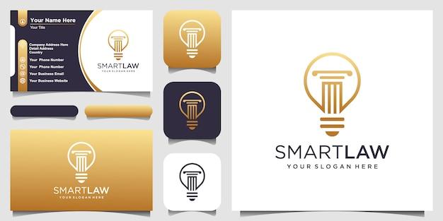 Lámpara de bombilla creativa y logotipo de pilar y tarjeta de visita. Vector Premium