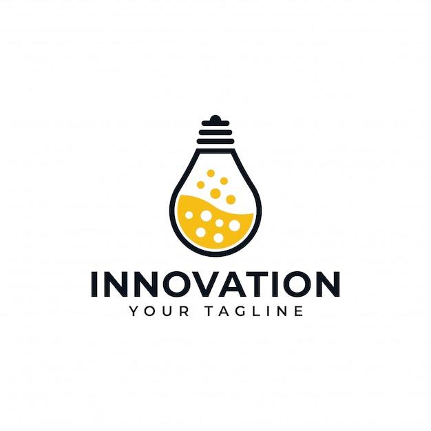 Lámpara de bombilla y laboratorio de ciencia, creativo, diseño de logotipo de innovación Vector Premium