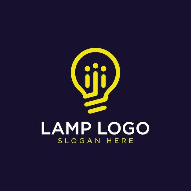 Lámpara de bombilla simple y moderna, idea, creatividad, innovación, inspiración de diseño de logotipo de energía Vector Premium