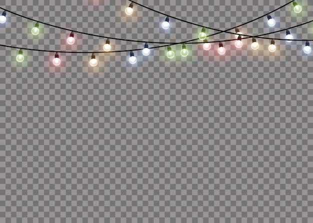 Lámpara de luz de resplandor de colores en cuerdas de alambre aislado fondo transparente. decoraciones de guirnaldas. Vector Premium
