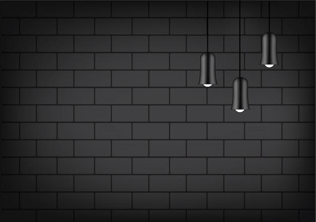 Lámpara realista e iluminación en el fondo de la pared de ladrillo Vector Premium
