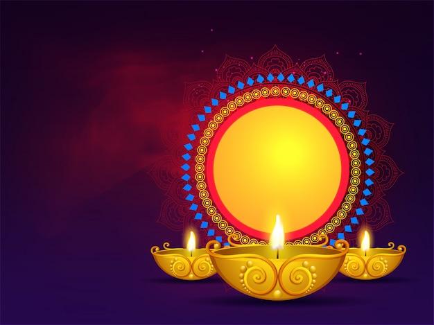 Lámparas de aceite doradas iluminadas con marco circular vintage. se puede utilizar como diseño de tarjetas de felicitación. Vector Premium
