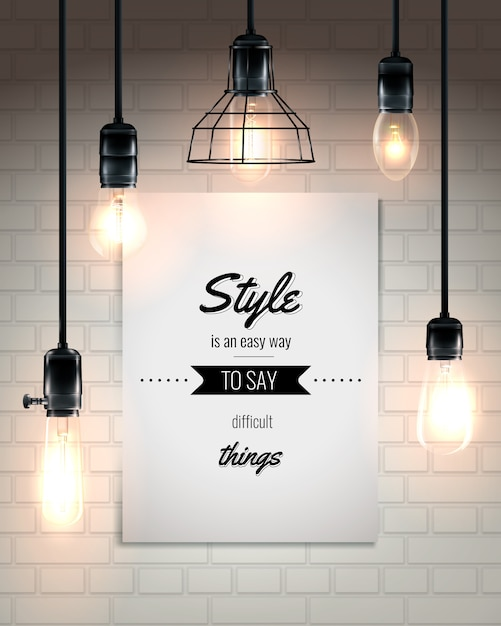 Lámparas y cita loft style poster vector gratuito