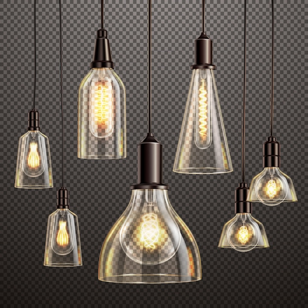 Lámparas de cristal decorativas colgantes con filamento