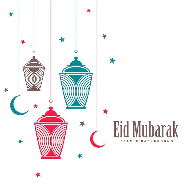 Lámparas decorativas eid mubarak de fondo plano. vector gratuito