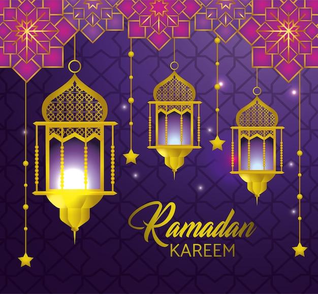 Lámparas con estrellas que cuelgan al ramadan kareem. vector gratuito