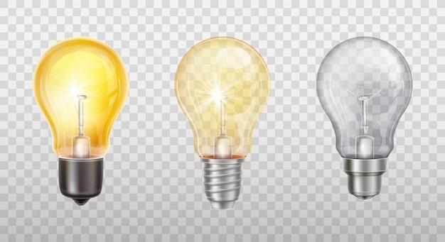 Lámparas incandescentes, bombillas eléctricas. vector gratuito