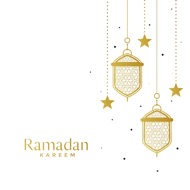 Lámparas islámicas elegantes y fondo estrella ramadán. vector gratuito