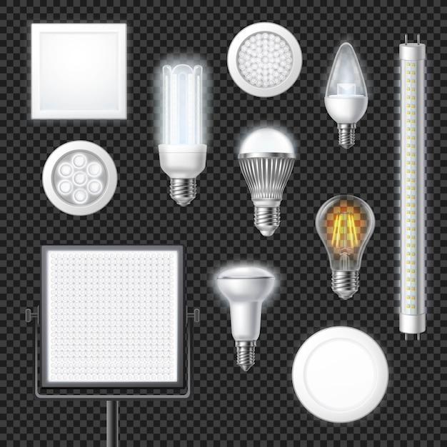 Lámparas led realista conjunto transparente vector gratuito