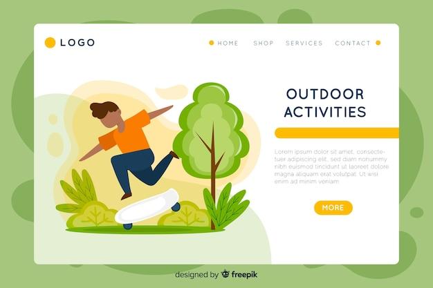 Landing page de actividades al aire libre vector gratuito