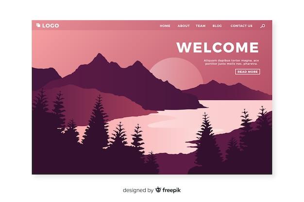 Landing page de bienvenida con paisaje degradado vector gratuito