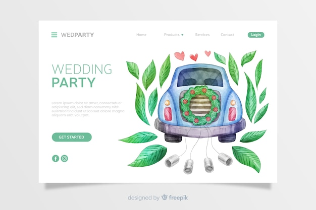 Landing page de boda en acuarela vector gratuito