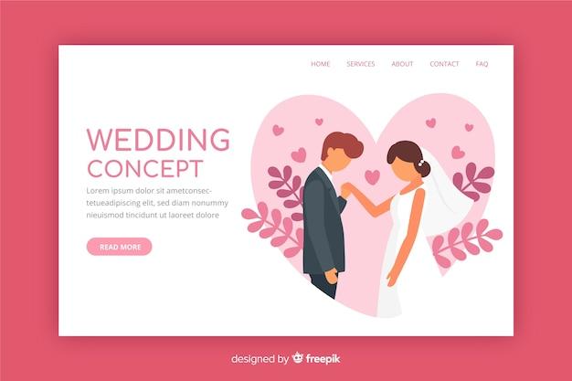 Landing page de boda en diseño plano vector gratuito